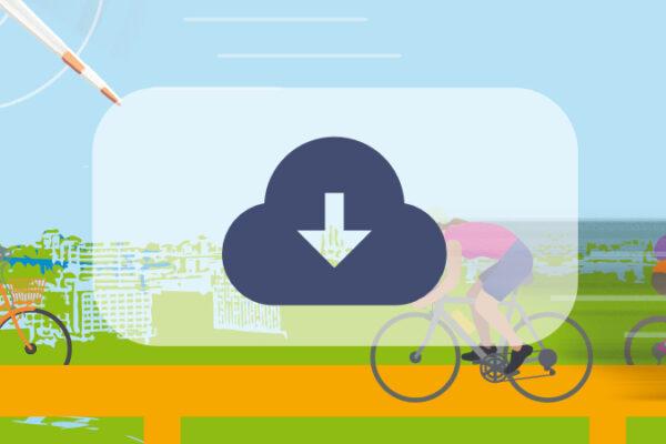 Downsymbol vor Fahrradfahrern