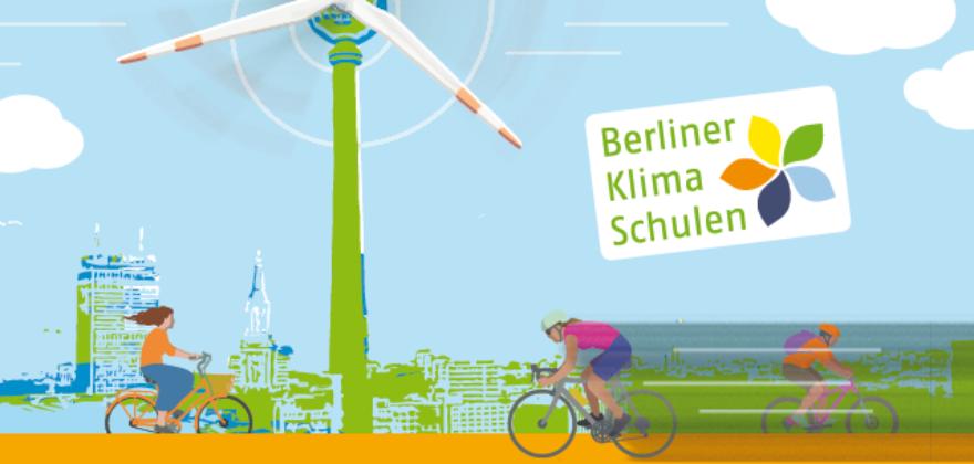 Der Berliner Fernsehturm als Windrad, darunter Menschen, die Fahrrad fahren
