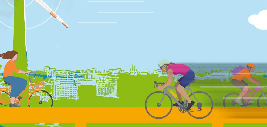 Fahrradfahrerinnen und Fahrradfahrer unter dem Fernsehturm